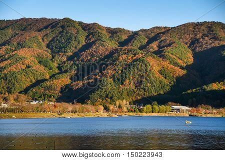beautiful mountain landscape with clear blue sky in autumn season of Kawaguchiko (Kawaguchi lake) Yamanashi prefecture Japan