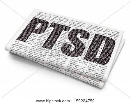 Health concept: Pixelated black text PTSD on Newspaper background, 3D rendering