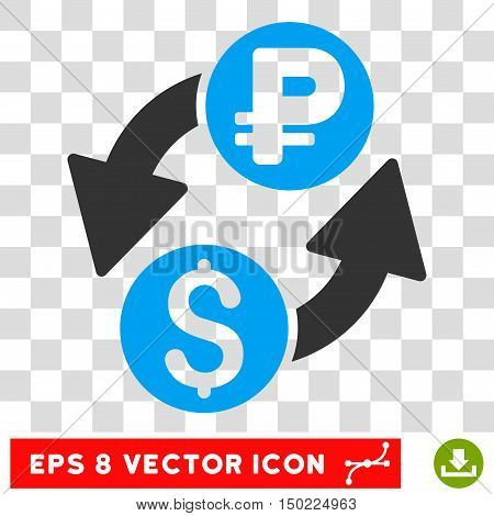 Dollar Rouble Exchange vector icon. Image style is a flat blue and gray icon symbol.
