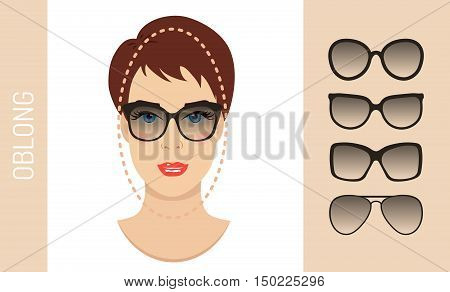 Woman sunglasses shapes for oblong women face type. Various forms of summer glasses for long face. Fashion collection. Vector set.