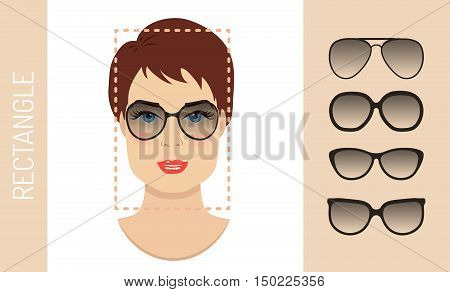 Woman sunglasses shapes rectangle women face type. Various forms of summer glasses for rectangle face. Fashion collection. Vector set.