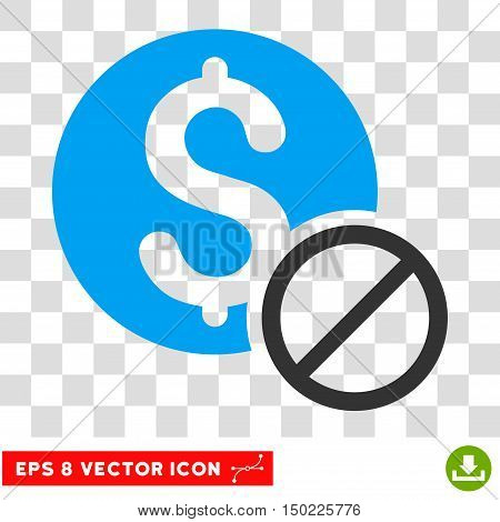 Free of Charge vector icon. Image style is a flat blue and gray iconic symbol.