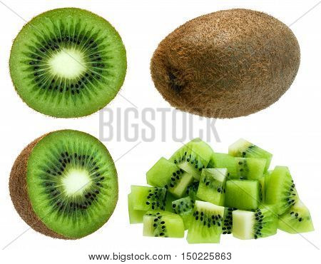 Whole green fuzzy kiwifruit, half, slice and diced isolated over white