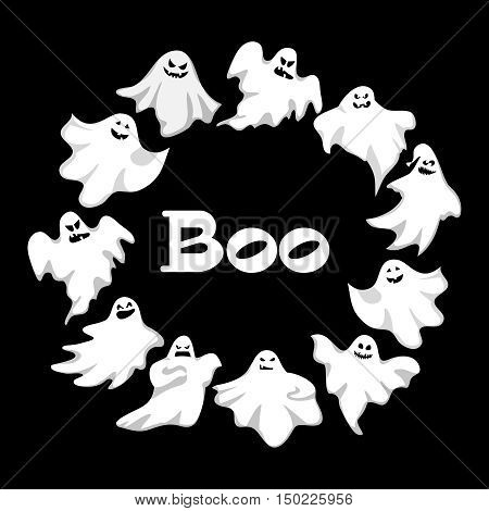 Cartoon spooky Ghost character vector wreath . Spooky and scary holiday monster design ghost character. Costume evil silhouette ghost character creepy funny cartoon cute spooky night symbol. Vector illustration