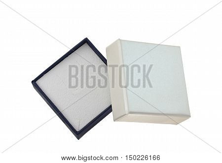 A empty jewelry box on white background
