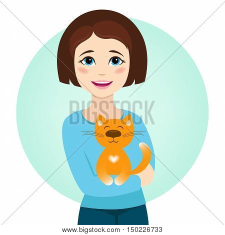 Smiling girl with cute cat. Cat sitting in girl's arms. Vector illustration.