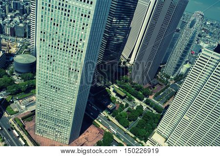 Tokyo - June 2016: Aerial city view with skyscrapers. Shinjuku.