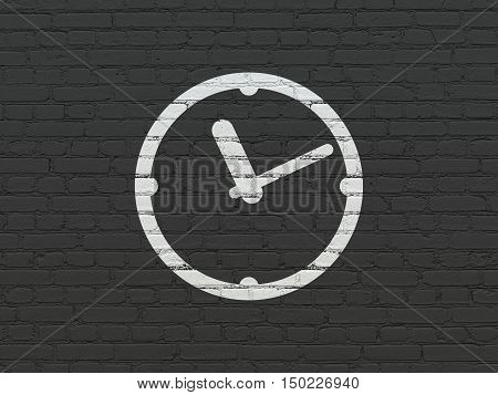 Time concept: Painted white Clock icon on Black Brick wall background