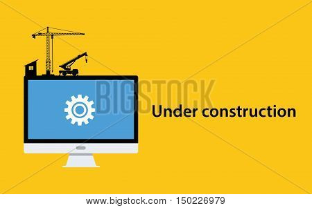 under construction concept with pc computer monitor gear icon crane construct and yellow background vector