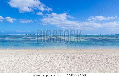Public Beach Of Flic En Flac Mauritius Overlooking The Sea