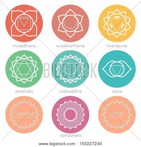 Set of universal round chakras icons at flate design with chakras color.