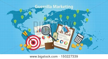 guerilla marketing concept with world map and graph and chart with goals target vector