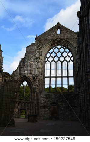 Ruins of Holyrood Abbey in Edinburgh Scotland's Old Town.