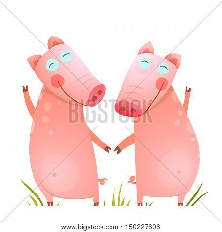 Funny childish piggy friendship. Two domestic animals for kids. Vector illustration.