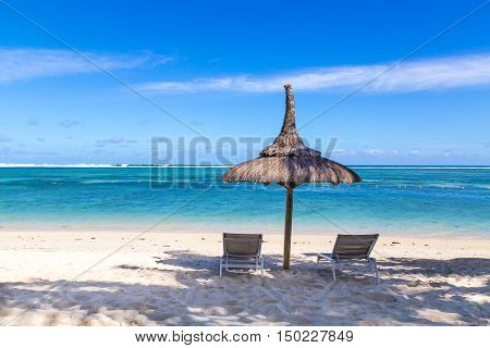 White Sand Beach Of Flic En Flac Mauritius Overlooking The Sea