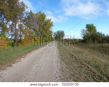 A old abandoned railroad bed now being used for a pathway with roadside trees used for walking, biking and 4 wheeling.