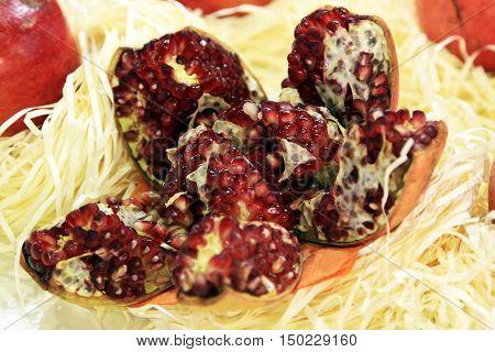 Pomegranate. Healthy antioxidant fresh gourmet delicious organic fruit. Ingredient for grenadine.