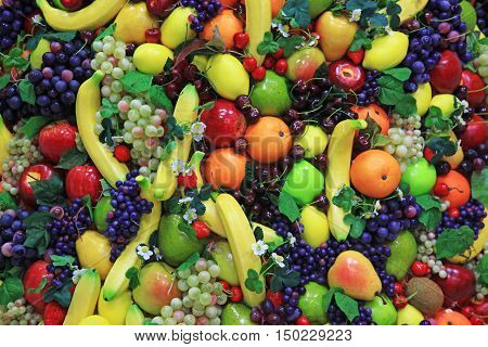 Plastic fruit to create different backgrounds. A lot of different