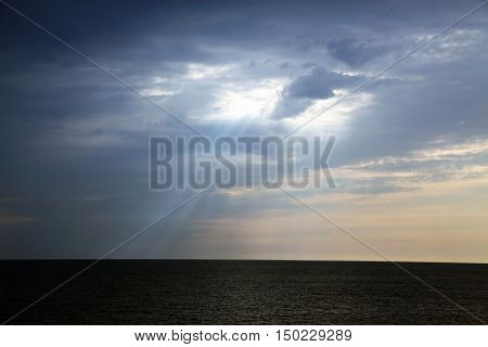 Cloudy sunset over Black Sea. Looks like rays from heaven