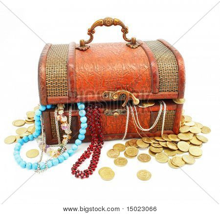 old wooden trunk with money and jewelery isolated on white background