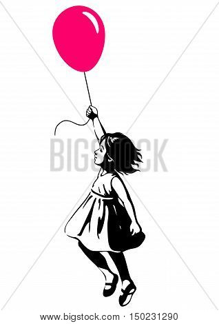 Vector hand drawn black and white silhouette illustration of a toddler girl floating in mid-air with pink red balloon in hand side view. Urban street art style graffiti stencil art design element.