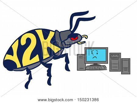 Vector hand drawn cartoon illustration of a huge Y2K millennium bug crawling towards a frightened-looking computer isolated on white.