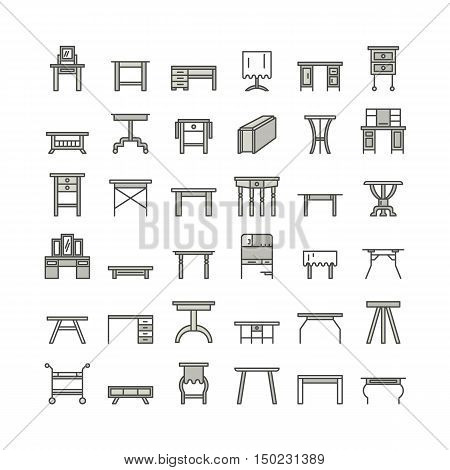 Vector furniture line icons table symbols. silhouette of different table - dinner writing dressing table. Linear desk pictogram with editable stroke for furniture store platen storage.