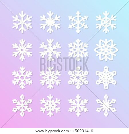 Cute snowflake collection isolated on blue background. Flat snow icons snow flakes silhouette. Nice element for christmas banner cards. New year ornament. Organic and geometric snowflakes set.