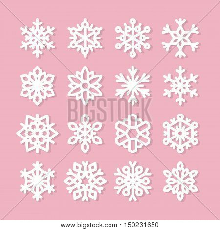 Cute snowflake collection isolated on pink background. Flat snow icons snow flakes silhouette. Nice element for christmas banner cards. New year ornament. Organic and geometric snowflakes set.