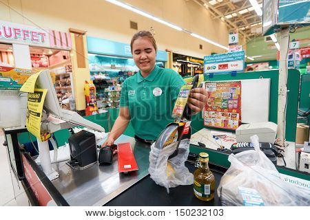 PATTAYA, THAILAND - FEBRUARY 22, 2016: checkout counter at the Tesco Lotus hypermarket in Pattaya. Tesco Lotus is a hypermarket chain in Thailand operated by Ek-Chai Distribution System Co., Ltd.