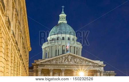 The Pantheon is a secular mausoleum containing the remains of distinguished French citizens. Located in the 5th arrondissement of Paris on the Mountain Saint Genevieve it looks out over all of Paris. poster