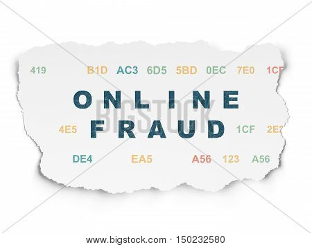 Safety concept: Painted blue text Online Fraud on Torn Paper background with  Hexadecimal Code