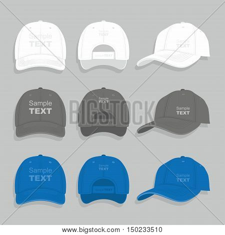 Baseball cap black and white templates, front, side, back views set, vector