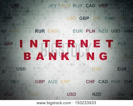 Currency concept: Painted red text Internet Banking on Digital Data Paper background with Currency