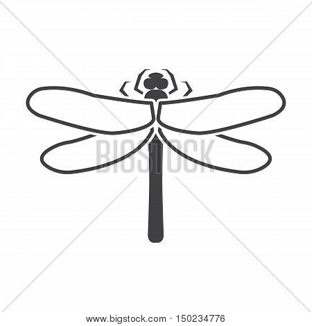 dragonfly black simple icon on white background for web design