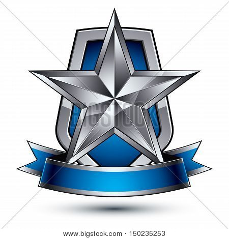 Renown vector silver star with wavy ribbon placed on a protection shield 3d sophisticated pentagonal design element