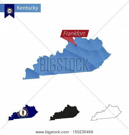 State Of Kentucky Blue Low Poly Map With Capital Frankfort.