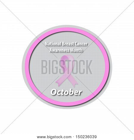 Breast Cancer Month - October. Pink ribbon cancer. Mammary cancer. Baner. Vector illustration on isolated background.