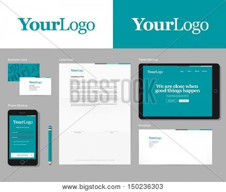 Corporate identity vector mockup with basic stationery set. Easy editable global colors & logo in symbols.