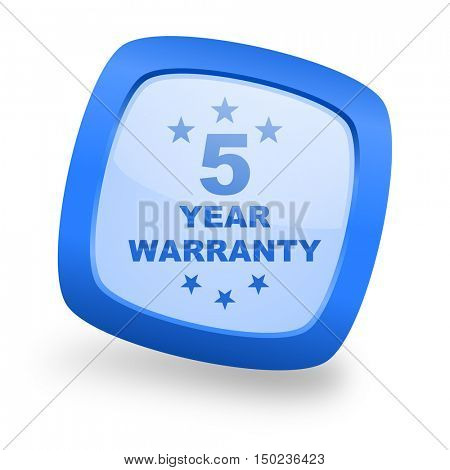 warranty guarantee 5 year blue glossy web design icon