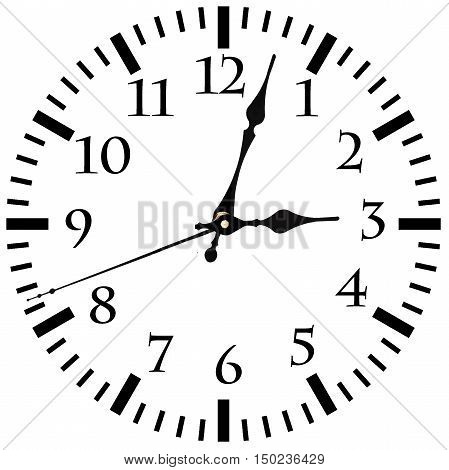 Wall Clock with Arrows isolated on white background