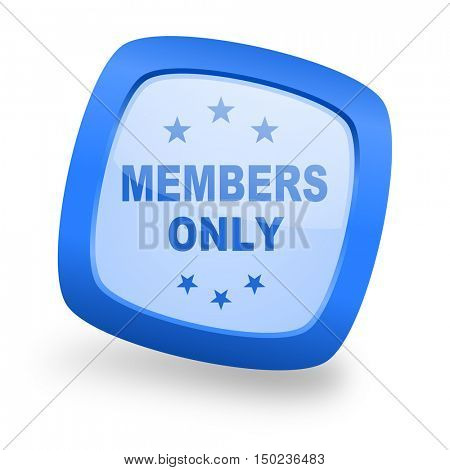 members only blue glossy web design icon