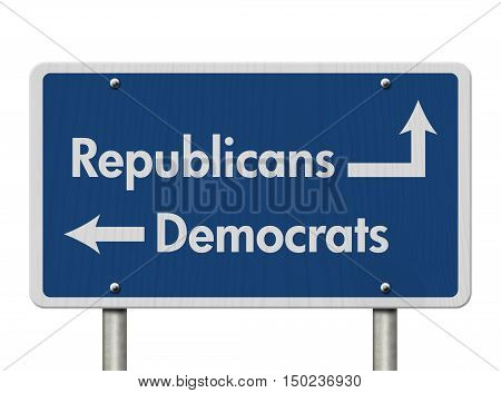 Difference between Republicans and Democrats Blue Road Sign with text Republicans and Democrats isolated over white 3D Illustration