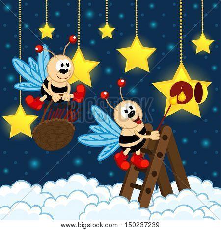 fireflies lit stars - vector illustration, eps