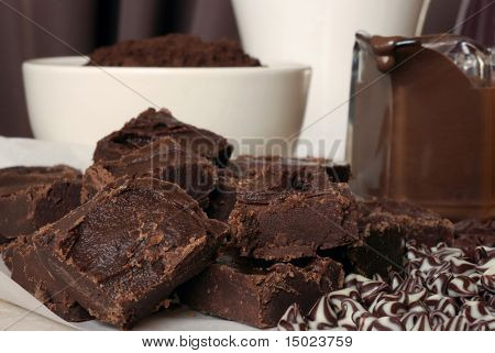 Assortment of chocolates including homemade chocolate fudge, cocoa powder, melted chocolate, and morsels.  Shallow dof
