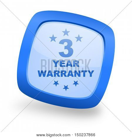 warranty guarantee 3 year blue glossy web design icon
