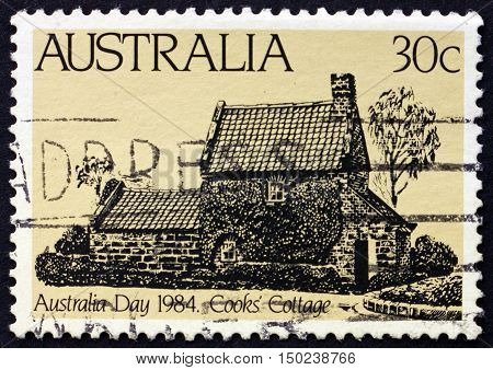 AUSTRALIA - CIRCA 1984: a stamp printed in Australia shows Cook's Cottage Australia Day circa 1984