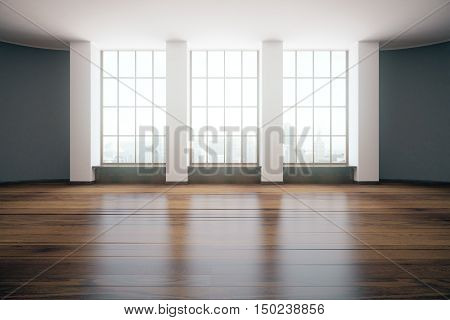 Modern unfurnished room design with wooden floor and windows with city view. 3D Rendering