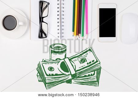 White workplace withj green money sketch coffee cup glasses blank smartphone and supplies