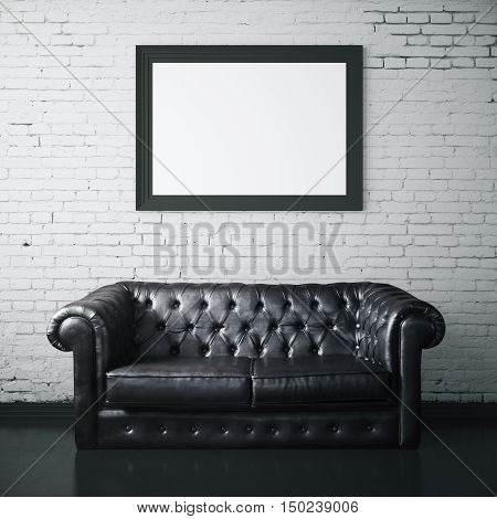 White brick interior with dark leather sofa and blank picture frame. Mock up 3D Rendering